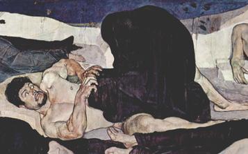 """Détail du tableau """"La nuit"""" de Ferdinand Hodler"""