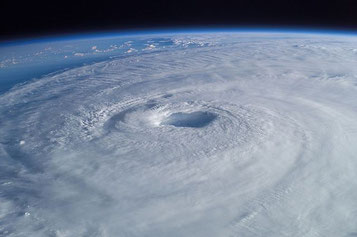 This spectacular image clearly shows the eye and the eye wall of Hurricane Isabel