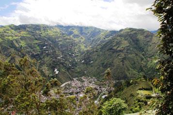 Vue sur Banos depuis les contreforts du volcan Tungurahua