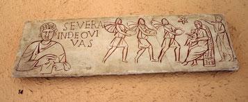 Fac-similé du couvercle d'un sarcophage du IIIe siècle, Musée de la Civilisation romaine