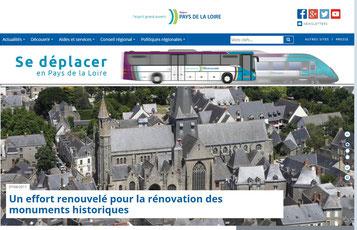 Site internet des Pays de la Loire