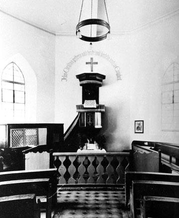 So hat der Innenraum der Waldenserkirche in Großvillars vor 1951 ausgesehen