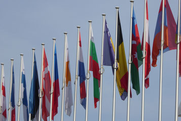 Alignement de drapeaux de pays de l'UE. Crédit : CC0