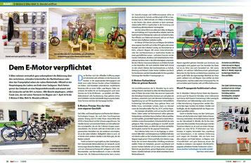 """Zeitungsbericht über die e-motion e-Bike Welt Sankt Wendel in der """"Radmarkt"""""""