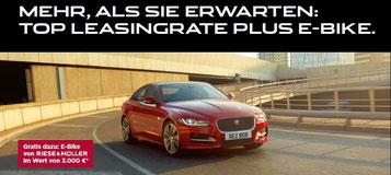 Jaguar XE leasen und ein 3.000,- € Gutschein für ein Riese und Müller Cruiser oder Swing in der e-motion e-Bike Welt Düsseldorf erhalten