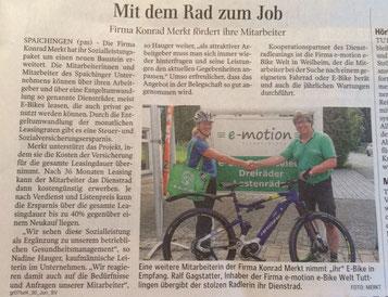 Zeitungsbericht über e-Bike Leasing der e-motion e-Bike Welt Tuttlingen