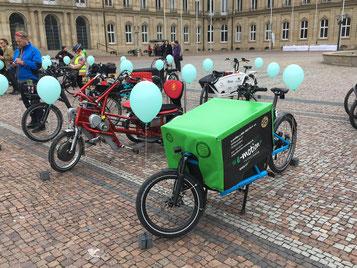 viele verschiedene Lasten e-Bike Marken auf dem Lasten e-Bike Event in Stuttgart