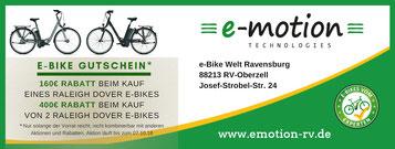 Raleigh Dover e-Bikes mit bis zu 400€ Sofort-Rabatt in Ravensburg-Oberzell