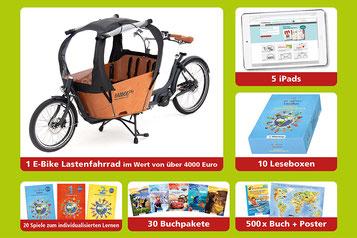 Ein glücklicher Gewinner darf sich über ein Lasten e-Bike von Babboe freuen