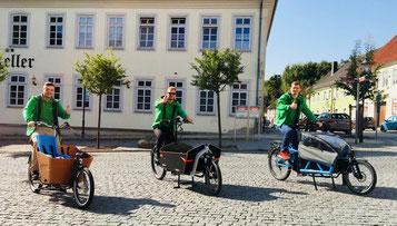 e-motion Braunschweig auf der Cycletour mit Lastenrädern von Babboe und Riese & Müller