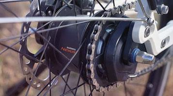 Die Shimano Nexus Inter 5-E Nabenschaltung harmoniert optimal mit dem E6100 e-Bike Antrieb