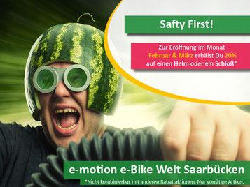20% auf Helme und Schlösser in der e-motion e-Bike Welt Saarbrücken