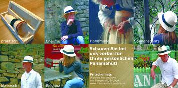 Werbeflyer für einen Panamahut von Fritsche Hats. Zu finden sind acht kleine Bilder mit Models mit einem Panamahut, einem eingerollten Hut in einer Balsaholz-Schachtel, und einem Informationsfeld.