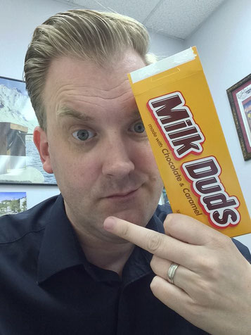 JW with a pack of Milk Duds, the Dark Lord's favorite candy