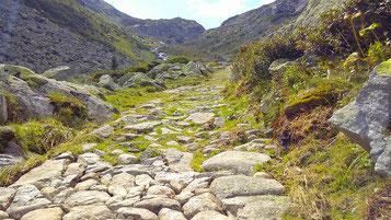 der Weg besteht aus groben Steinen