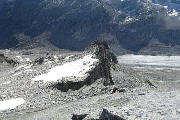 Albigna, Klettertour, Bergschuhklettern, Piz Casnil Ostgrat, Platte, Schlüsselstelle