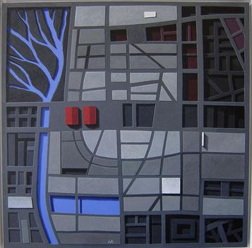 Grabungen, 2009, 120/120 cm, Acryl auf Leinwand