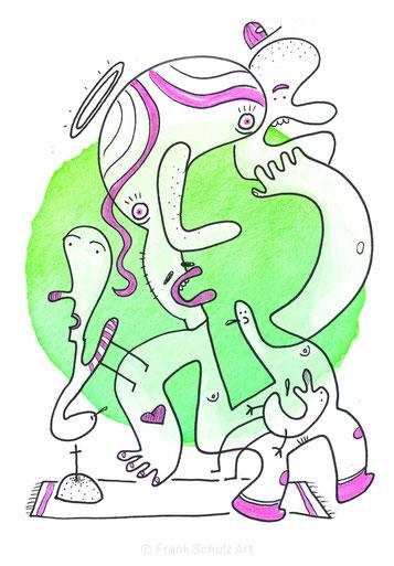Zeichnung einer nachten Frau mit Heiligenschein am Grab stehend, vor grünem Hintergrund, gezeichnet von Frank Schulz