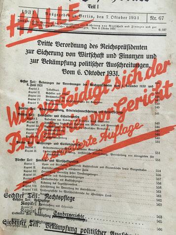 """Titelblatt, bedruckt wurde die """"Dritte Verordnung des Reichspräsidenten zur Sicherung von Wirtschaft und Finanzen und zur Bekämpfung politischer Ausschreitungen vom 06.10.1931"""""""