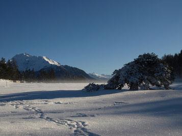 Schneeschuhspur in der Winterlandschaft