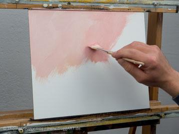 Hintergrund malen mit Acrylfarbe auf Hartfaserplatte, Acrylfarbe Pink, Rosa