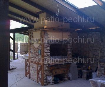 Фото барбекю комплекса мангал, вертел, коптильня, каминная вставка (генератор углей)