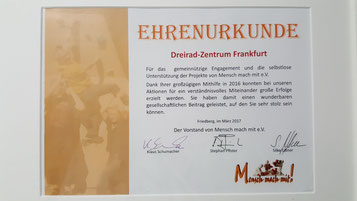 Ehrenurkunde für Dreirad-Zentrum Frankfurt