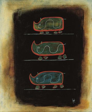 Der Weg zum blauen Nashorn 120 x 100 cm, Acryl auf Leinwand, Majo 98