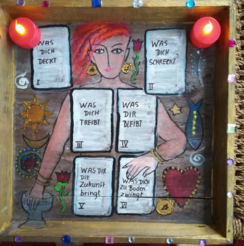 Kartenlegebrett mit Zauberspruch (nach Hajo Banzhaf)