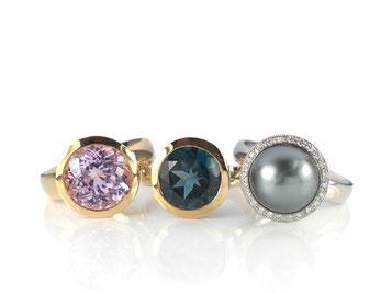 Aquamarin-Kette mit Tahiti-Perle und Diamanten in WG 585/-