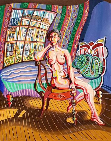 LA ESPERA (MADRID). Oil on canvas. 81,5 x 65 x 3,5 cm.