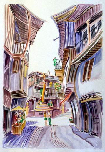 PLAZA DE LA ALBERCA (LA ALBERCA). Watercolor on pressed paper. 76 x 56 x 1 cm.