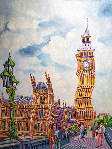 BIG BEN (LONDRES). Huile sur toile. 92 x 73 x 3,5 cm.