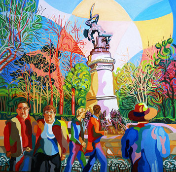 EL ANGEL CAIDO (MADRID). Huile sur toile. 60 x 60 3,5 cm.