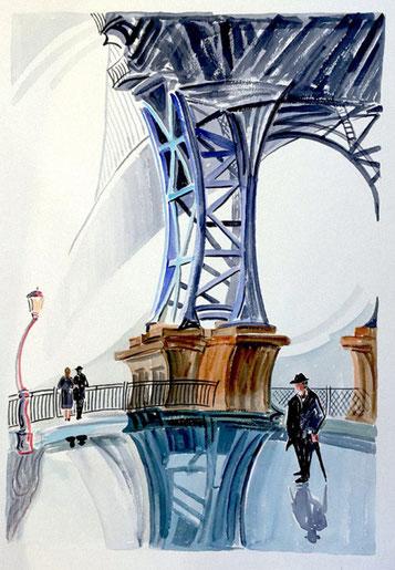 PUENTE MANHATTAN (NEW YORK). Watercolor on pressed paper. 76 x 56 x 1 cm.