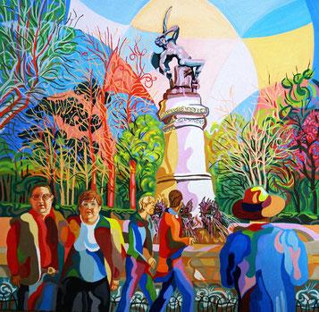 EL ANGEL CAIDO (MADRID). Oleo sobre lienzo. 60 x 60 3,5 cm.
