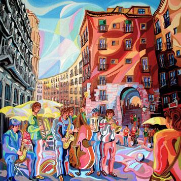 ARCO DE CICHILLEROS (MADRID). Huile sur toile. 100 x 100 x 3,5 cm.