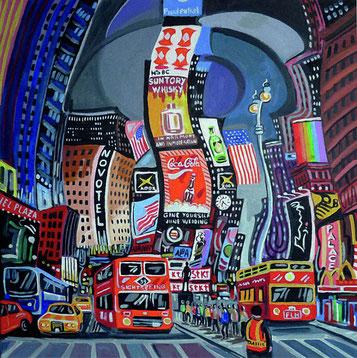 VISITANDO TIMES SQUARE (NEW YORK). Huile sur toile. 50 x 50 x 3,5 cm.