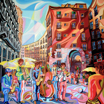 ARCO DE CICHILLEROS (MADRID). Oleo sobre lienzo. 100 x 100 x 3,5 cm.