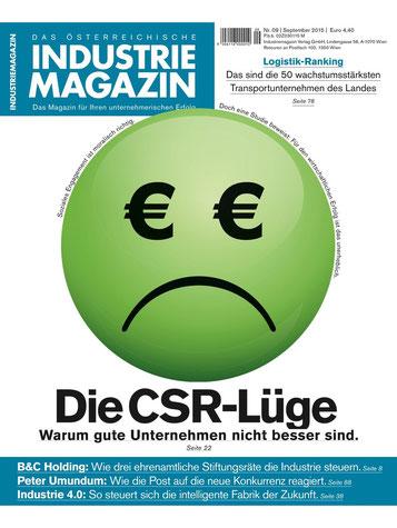 Cover, Industriemagazin, Ausgabe 9/2015