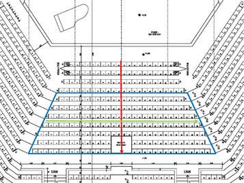 Grundriss-Ausschnitt des Großen Sendesaales beim NDR Hannover mit Lage der Schleife im vorderen Parkett-Bereich