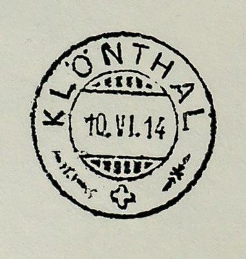 Klöntaler Handstempel, der im Juni 1914 bei der Eröffnung der Poststelle im Vorauen verwendet wurde.