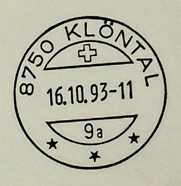 Der Letzttag des Klöntaler Datumsstempels (16.10.1993), dem im Jahre 1964 die Postleitzahl 8750 zugefügt worden war.