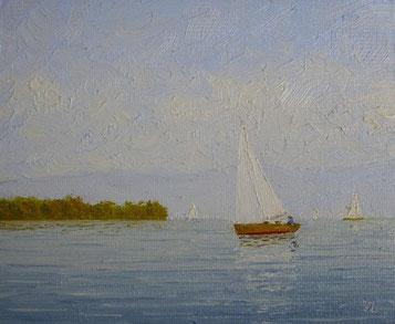 Herbstliche Ausfahrt (Öl auf Leinwand, 10 x 12 cm, verkauft))