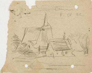 Eine Zeichnung des deutsch-amerikanischen Malers Lyonel Feiniger von der Kirche in Cammin bei Burg Stargard