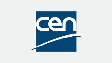 Logo du CEN : centre de normalisation européenne. Lettres CEN sur fond bleu