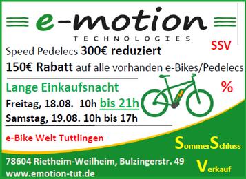 Sommerschlussverkauf im e-motion e-Bike Premium Shop Tuttlingen