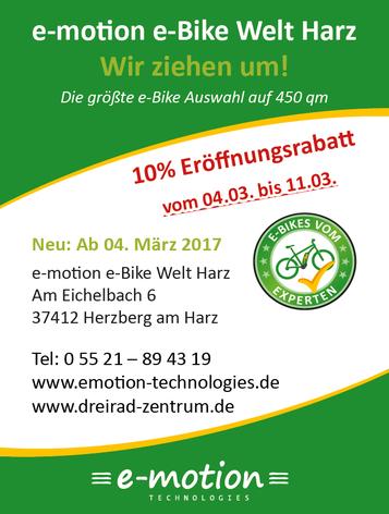 Umzug und Neueröffnung e-motion e-Bike Welt Harz