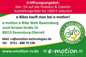 Eröffnungsangebot e-motion e-Bike Welt Ravensburg