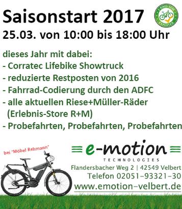 Es geht los: Saisonstart 2017 im e-motion e-Bike Premium Shop Velbert